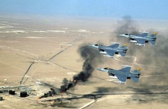 188th Fighter Squadron flying over Kuwaiti oil wells during the Operation Southern Watch, 1998