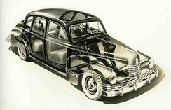 News release drawing of the 1942 Nash 600 showing its unibody construction