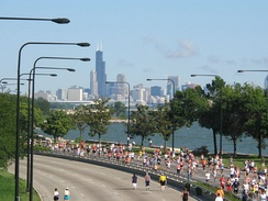 Chicago Half Marathon on Lake Shore Drive on the South Side.