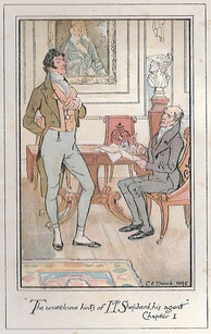 Persuasion, novel by Jane Austen, illustrated by C. E. Brock. For Sir Walter Elliot, baronet, the hints of Mr Shepherd, his agent, were quite unwelcome...