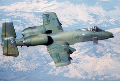 An A-10 from the 343rd Tactical Fighter Wing prepares to drop Mark 82 bombs at the Yukon Command Training Site in 1988.