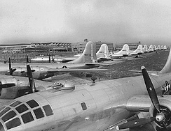 Newly manufactured B-29s on the ramp at Boeing-Wichita awaiting delivery to operational units, 1945