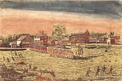 The Battle of Lexington, April 19th, 1775. Blue coated militiamen in the foreground flee from the volley of gunshots from the red coated British Army line in the background with dead and wounded militiamen on the ground.