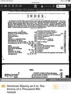 Beginning of index of American Slavery As It Is, by Theodore Weld, Angelina Grimké, and Sarah Grimké 1839