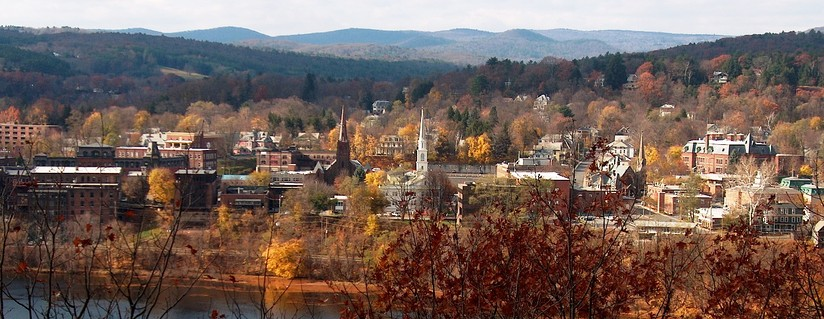 Downtown Brattleboro, as seen from a walking trail just across the Connecticut River, in New Hampshire. There are many miles of scenic trails in and around the town.