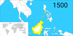 The extent of the Bruneian Empire in the 15th century, under Sultan Bolkiah rule.