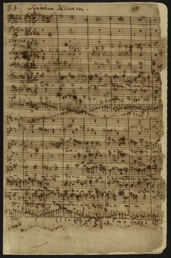 Autograph of the first page of Symbolum Nicenum, beginning with the Gregorian chant Credo in the tenor