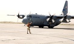 Lockheed C-130H-LM Hercules, AF Serial No. 85-1362 from the Texas Air National Guard's 136th Airlift Wing based at NAS Fort Worth JRB, Carswell Field on the ramp at Bagram AB, Afghanistan on Wednesday, 31 May 2006.