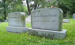 Gravestones of Charles Bishop Kuralt and Petie Baird Kuralt at the Old Chapel Hill Cemetery