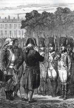 Louis XVI reviewing the troops defending the palais des Tuileries with Augustin-Joseph de Mailly, marshal of France, before the battles of 10 August.