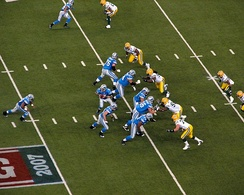 The Detroit Lions, seen here during the 2007 Thanksgiving game against their division rival Green Bay Packers, have played on Thanksgiving since 1934.