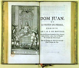 Title page for Dom Juan ou le Festin de pierre – the censored version – with illustration of the statue at the feast. From posthumous works of Molière, 1682.