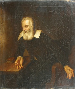 "Portrait, attributed to Murillo, of Galileo gazing at the words ""E pur si muove"" (And yet it moves) (not legible in this image) scratched on the wall of his prison cell"
