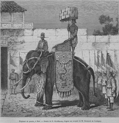 Drawing of an elephant in front of soldiers