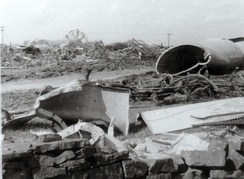 Wreckage of the Emley Moor Mast, which collapsed in March 1969, strewn across fields.