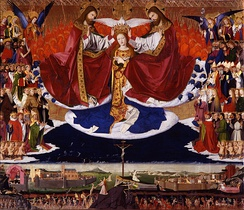 Coronation of the Virgin by Enguerrand Quarton (1453-54), with Christ and God the Father as identical figures, as specified by the cleric who commissioned the work.
