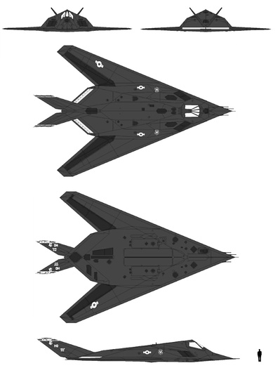 Schematic diagram and size comparison of Lockheed F-117A