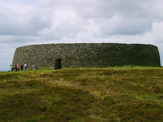 Exterior view of Grianan of Aileach situated in County Donegal, Republic of Ireland; the royal fort of the over-kingdom of the Northern Uí Néill; 55°01′24″N 7°25′43″W / 55.023386°N 7.428509°W / 55.023386; -7.428509.