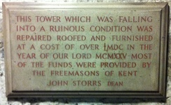 Plaque recording the restoration of the Gundulf Tower