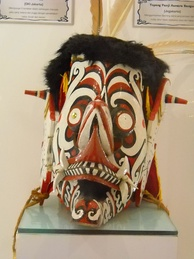 A Hudoq mask, performed mainly in the Hudoq festival in East Kalimantan, Indonesia. Held in September–October each year, the event is celebrated as a harvest festival by the Bahau, Busang, Modang, Ao'heng and Penihing Dayak groups in Mahakam river basin.