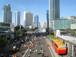 Jakarta pedestrians, joggers and bicyclists take over the main avenue during Car-Free Day