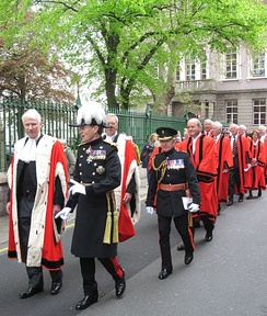 Bailiff, Lieutenant-Governor and other officials in procession on Liberation Day 2012