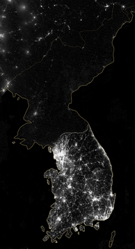 The Korean Peninsula at night, shown in a 2012 composite photograph from NASA