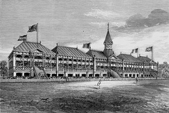 Grandstand built for the English cricket team's 1877 visit