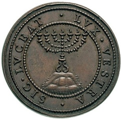 Reverse of 1590 coin in honor of Urban VII with menorah and the legendSIC•LUCEAT•LUX•VESTRA(Let your light so shine – Matt. 5:16)