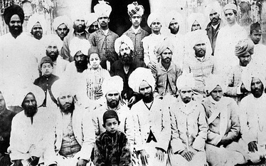 Mirza Ghulam Ahmad (seated centre) with some of his companions at Qadian c.1899