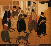Portuguese Nanbanjin arriving at Japan much to the surprise of locals, detail from a Nanban panel of the Kanō school, 1593–1600