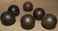 Matchlock musket balls, alleged to have been discovered at Naseby battlefield