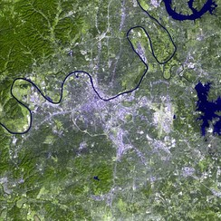 A satellite image of Nashville