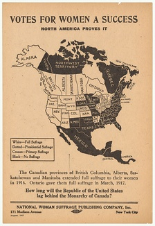 A promotional map of the woman's suffrage movement in the U.S. and Canada by 1917. The U.S. states and Canadian provinces that had adopted suffrage are colored white (or dotted and crosses, in case of partial suffrage) and the others black.