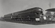 Pennsylvania RR's S-1 locomotive, designed by Raymond Loewy, at the 1939 New York World's Fair