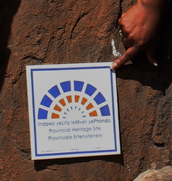 Badge indicating that the Diepkloof Rock Shelter is a provincial heritage site