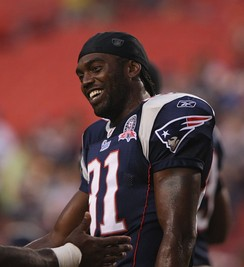 Randy Moss led the NFL in touchdown receptions five times.