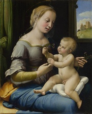In the painting Madonna of the Pinks by Raphael, the Christ Child gives a pink flower to the Virgin Mary, symbolizing the union between the mother and child.