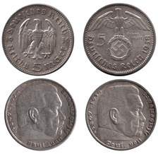 5 Reichsmark coins without (1936) and with (1938) the Nazi swastika