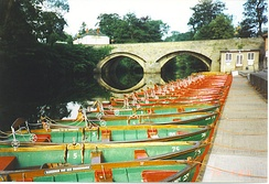 The rowing boats on the River Nidd are a popular tourist attraction in the town.