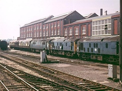 Locomotives awaiting scrapping outside the Works