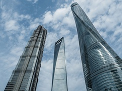 Shanghai World Financial Center, Jin Mao Tower and Shanghai Tower, Lujiazui