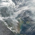 Fires on Sumatra and the resulting haze. Image captured 4 October 2006 by the Aqua MODIS satellite.