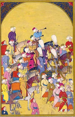 Janissaries marching to Mehter martial tunes played by the Mehterân military band. Ottoman miniature painting, from the Surname-i Vehbi (1720) at the Topkapı Palace Museum in Istanbul.