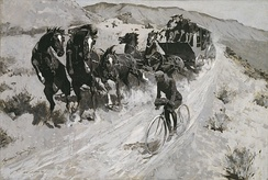 Frederic S. Remington (1861–1909); The Right of the Road – A Hazardous Encounter on a Rocky Mountain Trail; 1900; Oil on canvas; Amon Carter Museum of American Art, Fort Worth, Texas, Amon G. Carter Collection; 1961.246