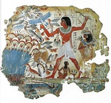 Hunting in the papyrus thicket, mural from a tomb in Thebes, Egypt, before 1350 BC
