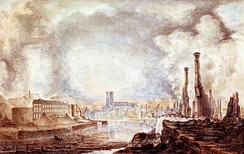 Painting of the Cathedral and the Academy building after the Great Fire of Turku, by Gustaf Wilhelm Finnberg, 1827