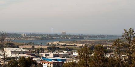 View of Mission Bay and SeaWorld from campus