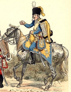 Hussar of the Magdeburg Hussar Commando (1763, drawing from Richard Knötel, Uniformenkunde, 1893)
