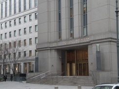 Daniel Patrick Moynihan United States Courthouse at 500 Pearl Street; the court's former temporary home.
